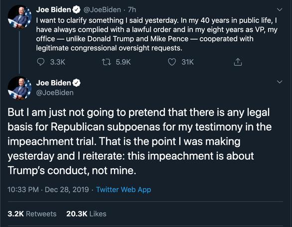 Ông Joe Biden: Không có cơ sở pháp lý buộc tôi làm chứng luận tội tổng thống - Ảnh 2.