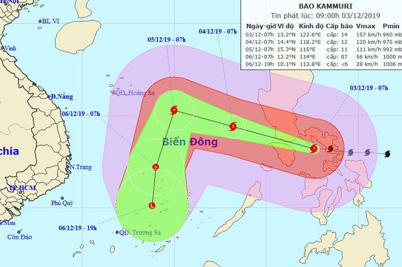 Bão Kammuri giật cấp 17 sắp vào Biển Đông, TP.HCM có mưa rào - Ảnh 1.
