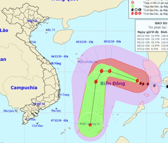 Tâm bão Kammuri cách Trường Sa 560km, ngoài khơi gió giật, biển động mạnh - Ảnh 1.