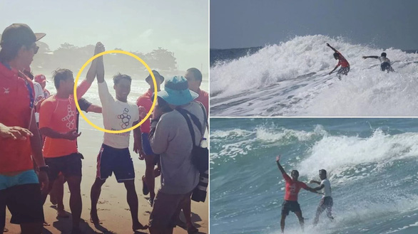 VĐV lướt sóng Philippines 'hi sinh' cơ hội huy chương vàng để cứu đối thủ - Ảnh 1.