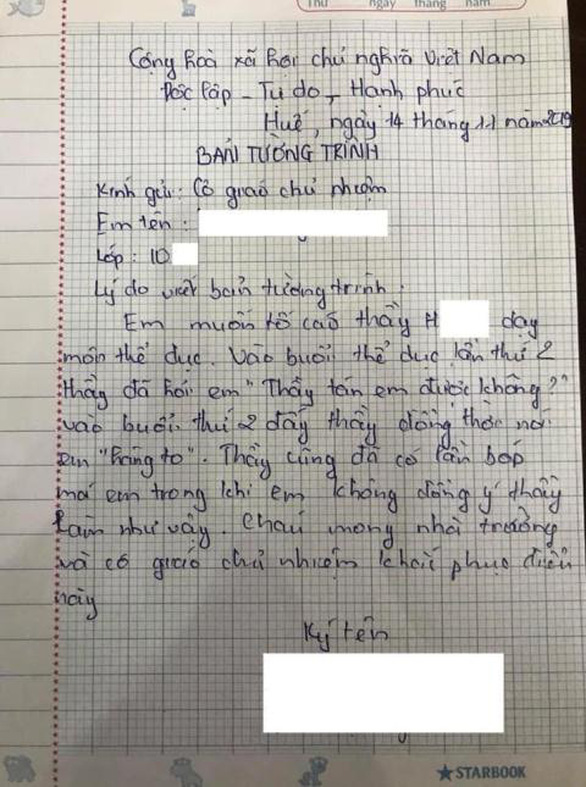 Thầy giáo thừa nhận có lời lẽ khiếm nhã với nữ sinh lớp 10 - Ảnh 1.