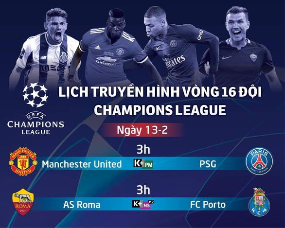 Lịch trực tiếp Champions League 13-2: M.U đại chiến PSG - Ảnh 1.