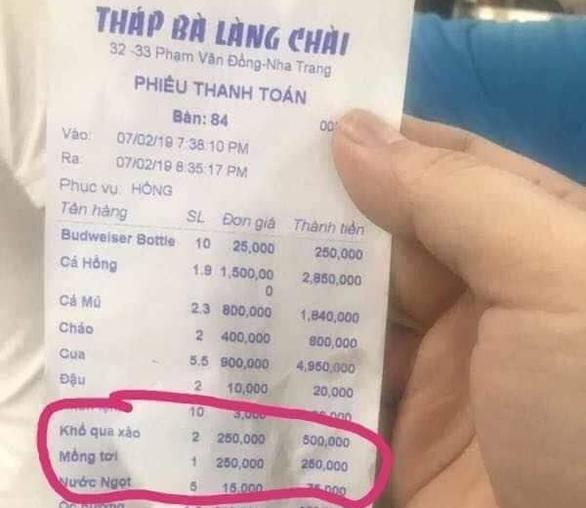 Nhà hàng ra hóa đơn hơn 16 triệu ở Nha Trang bị phạt 750.000 đồng - Ảnh 1.