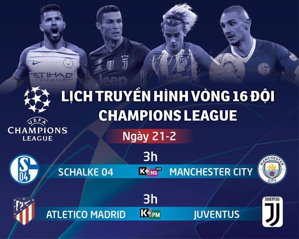 Lịch trực tiếp Champions League ngày 21-2: Atletico Madrid đấu Juventus - Ảnh 1.