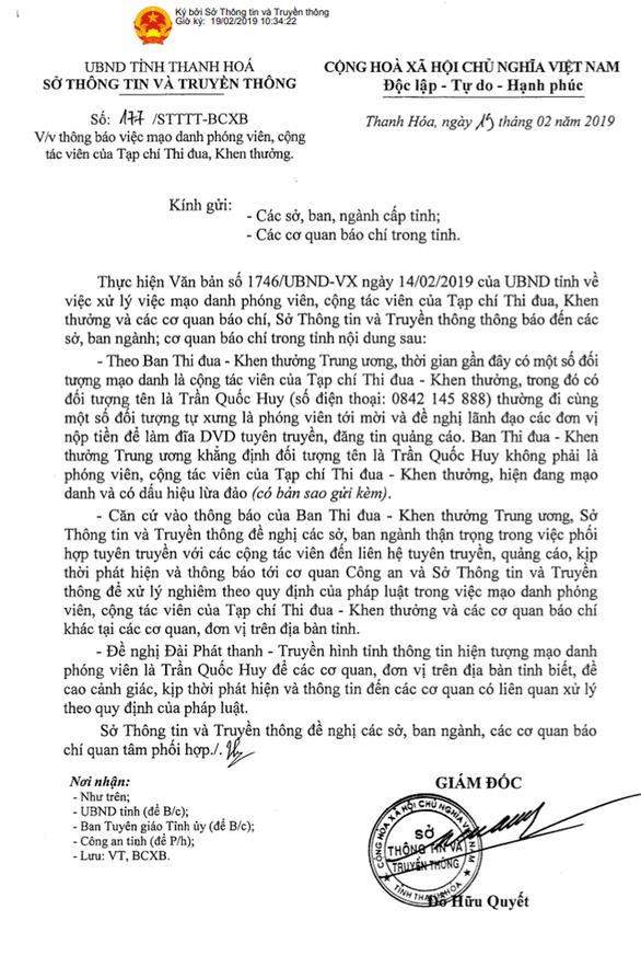 Mạo danh phóng viên tạp chí Thi đua Khen thưởng để lừa đảo - Ảnh 1.
