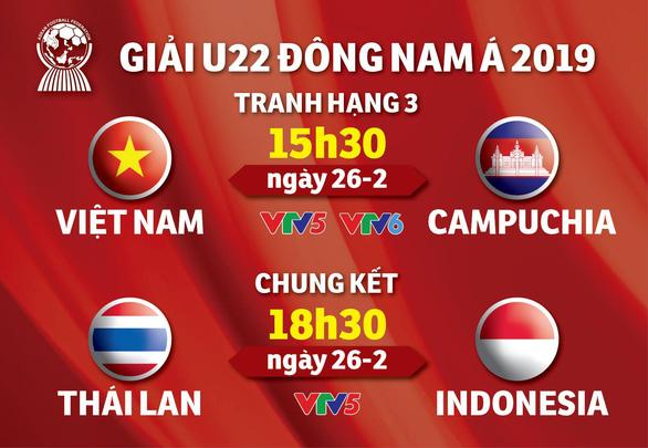 Lịch truyền hình Giải U22 Đông Nam Á 2019: U22 Việt Nam và Campuchia tranh hạng 3 - Ảnh 1.