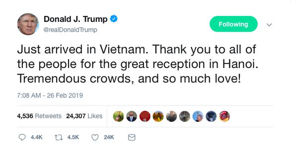 Tổng thống Trump viết tweet: Cảm ơn Việt Nam, đầy tình yêu - Ảnh 1.