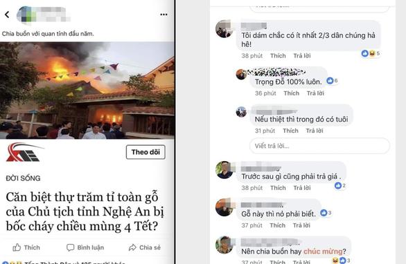 Không có chuyện 'biệt thự trăm tỉ chủ tịch tỉnh Nghệ An bốc cháy' - Ảnh 1.