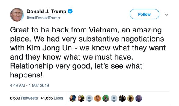 Ông Trump về đến Mỹ, khen Việt Nam là đất nước tuyệt vời - Ảnh 1.