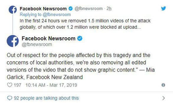 Facebook xóa 1,5 triệu video xả súng ở New Zealand chỉ trong 24 giờ - Ảnh 2.