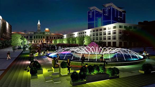 Đài phun nước nghệ thuật sẽ được xây lại trên phố đi bộ Nguyễn Huệ - Ảnh 1.
