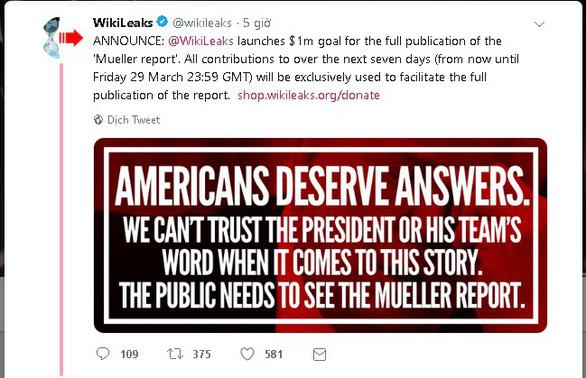 WikiLeaks kêu gọi góp 1 triệu USD 'mua' báo cáo điều tra Nga can thiệp bầu cử Mỹ - Ảnh 2.