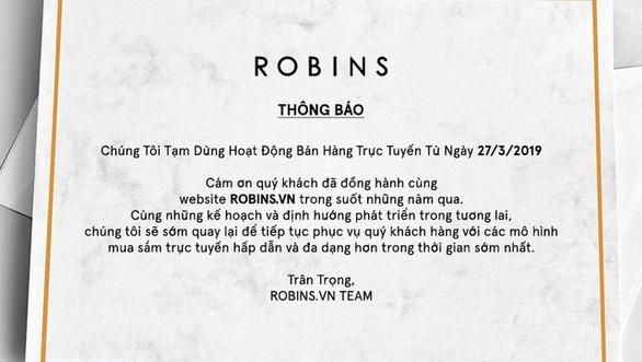 Vì sao trang thương mại điện tử robins.vn đóng cửa? - Ảnh 1.