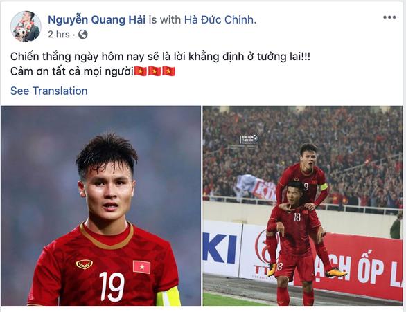 Các cầu thủ U23 Việt Nam viết gì lên Facebook sau trận thắng Thái Lan? - Ảnh 2.