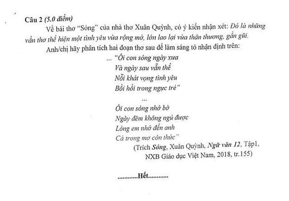 Đề thi của Sở Giáo dục-đào tạo Hà Nội 'cắt thơ' Xuân Quỳnh? - Ảnh 1.