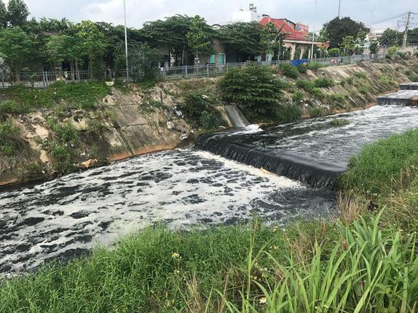 Nước kênh ô nhiễm từ Long An chảy sang Bình Chánh, TP.HCM - Ảnh 1.