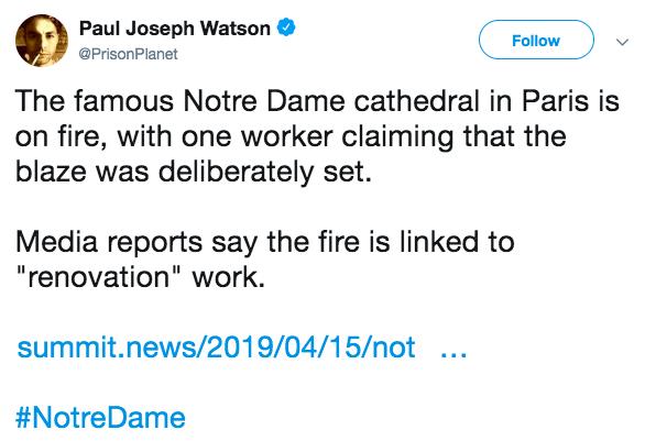 Nhiều thuyết âm mưu sau vụ cháy Nhà thờ Đức Bà Paris - Ảnh 2.