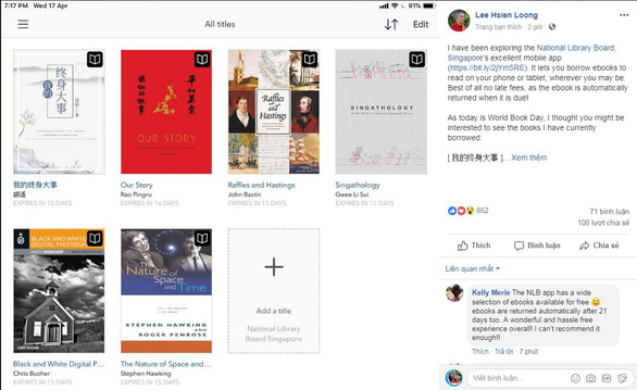 Thủ tướng Singapore 'khoe' các sách đang đọc nhân ngày Sách Thế giới - Ảnh 1.