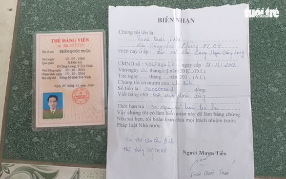 Tước quân tịch thiếu úy công an mang thẻ Đảng đi cầm 50 triệu đồng - Ảnh 1.