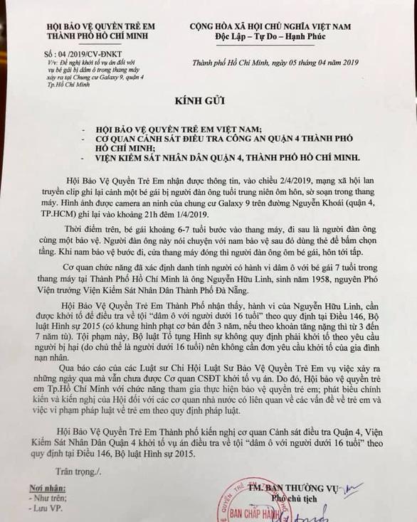 Hội bảo vệ trẻ em kiến nghị khởi tố vụ dâm ô bé gái trong thang máy - Ảnh 1.