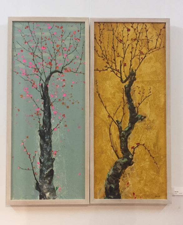 Xuân đáo bách hoa khai trên tranh của 10 họa sĩ Hà Nội - Ảnh 2.