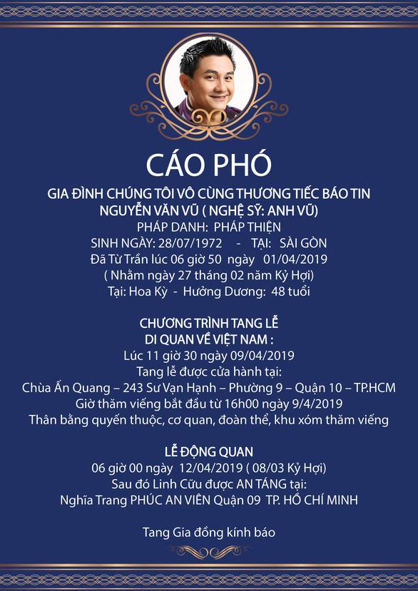 Ngày 9-4 thi hài Anh Vũ từ Mỹ sẽ về đến Việt Nam - Ảnh 2.