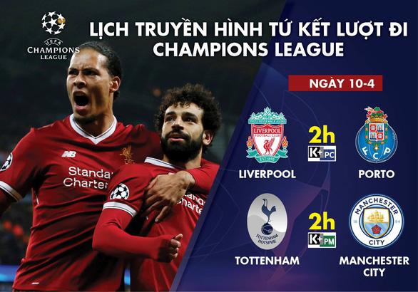 Lịch truyền hình tứ kết lượt đi Champions League ngày 10-4: Tottenham đại chiến M.C - Ảnh 1.