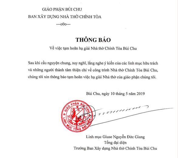 Giáo phận Bùi Chu thông báo hoãn hạ giải nhà thờ Bùi Chu - Ảnh 1.