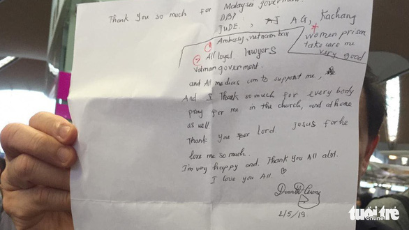 Đoàn Thị Hương viết thư cảm ơn, nói yêu mọi người trước khi về nước - Ảnh 2.