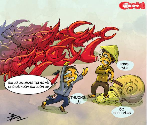 Biếm họa combo ốc bươu vàng và tôm hùm đất - Ảnh 1.
