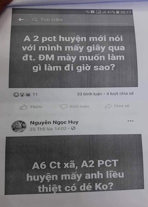Cho rằng bị bôi nhọ trên Facebook, phó chủ tịch huyện kiến nghị xử lý 1 viên chức - Ảnh 1.