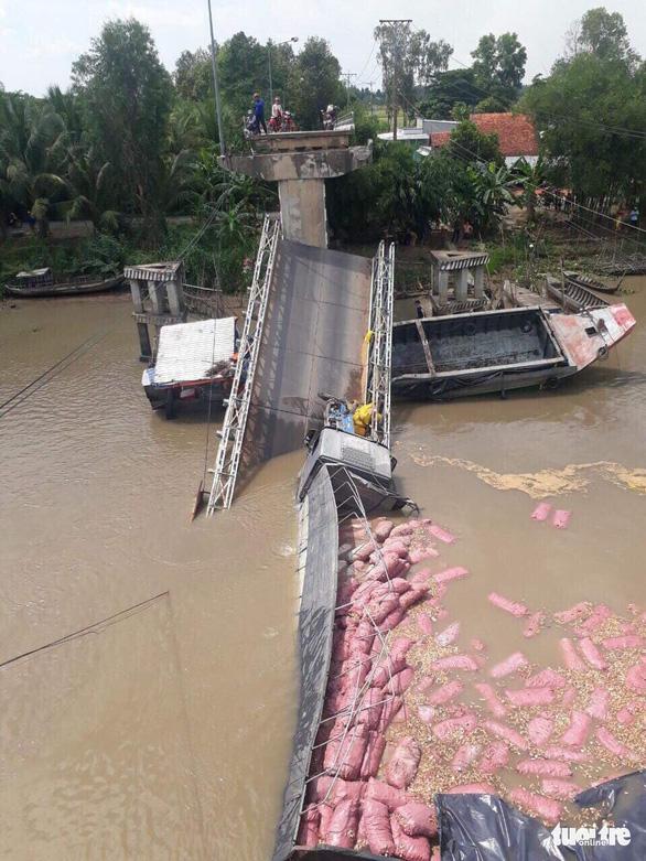 Cầu Tân Nghĩa sập do xe quá tải trọng - Ảnh 2.