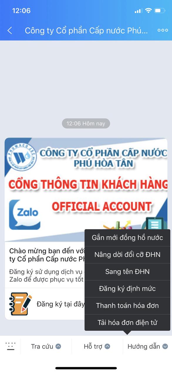 Cấp nước Phú Hòa Tân ứng dụng Zalo chăm sóc khách hàng - Ảnh 1.