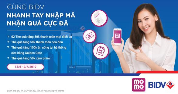 Kết nối Ví MoMo và BIDV: Nhận ngay 300.000 đồng - Ảnh 1.