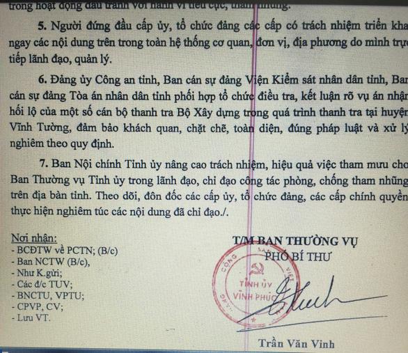 Vĩnh Phúc chỉ đạo xử nghiêm vụ thanh tra Bộ Xây dựng nhận hối lộ - Ảnh 1.