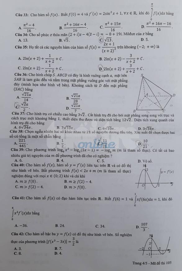Mời bạn đọc xem đề toán THPT quốc gia 2019 - Ảnh 25.