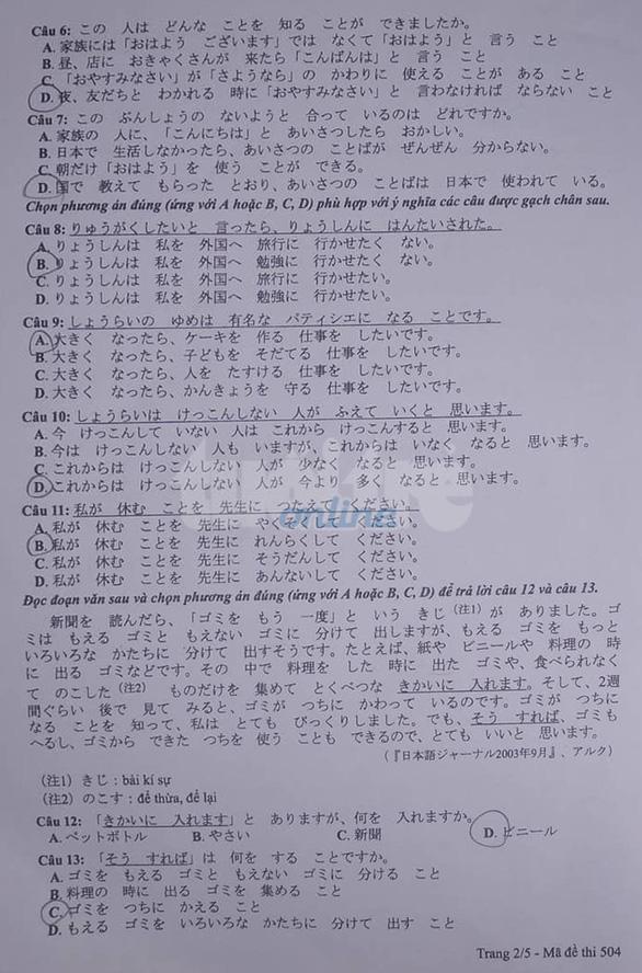 Mời bạn đọc xem đề tiếng Anh, tiếng Nhật THPT quốc gia 2019 - Ảnh 8.