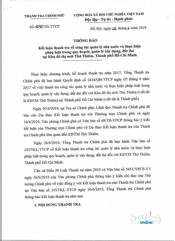 Thanh tra Chính phủ công bố kết luận thanh tra Thủ Thiêm - Ảnh 2.