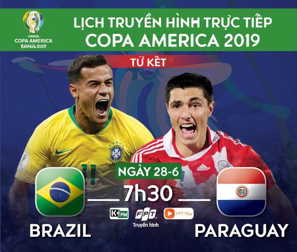 Lịch trực tiếp tứ kết Copa America 2019: Brazil gặp Paraguay - Ảnh 1.