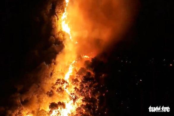 Rừng thông cháy đỏ trời, hai tỉnh cùng dập lửa di tản dân trong đêm - Ảnh 1.