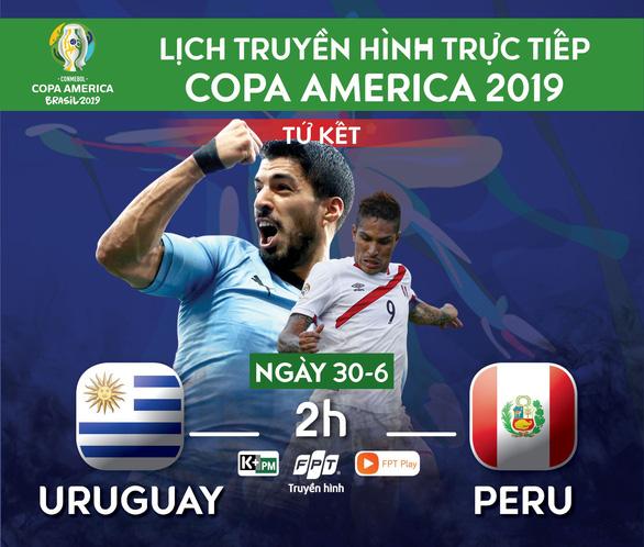 Lịch trực tiếp tứ kết Copa America 2019: Uruguay gặp Peru - Ảnh 1.