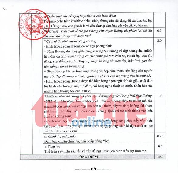 Bộ GD-ĐT công bố đáp án môn ngữ văn thi THPT quốc gia - Ảnh 2.