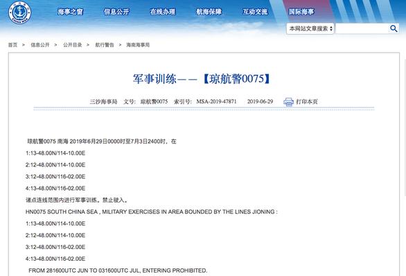 Trung Quốc thông báo tập trận cả tuần ở phía bắc Trường Sa - Ảnh 1.