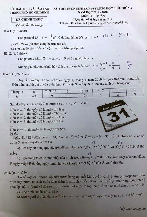 Đề thi toán lớp 10 TP.HCM vừa sức thí sinh - Ảnh 1.