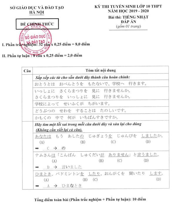 Sở GD-ĐT Hà Nội công bố đáp án thi vào lớp 10 - Ảnh 10.