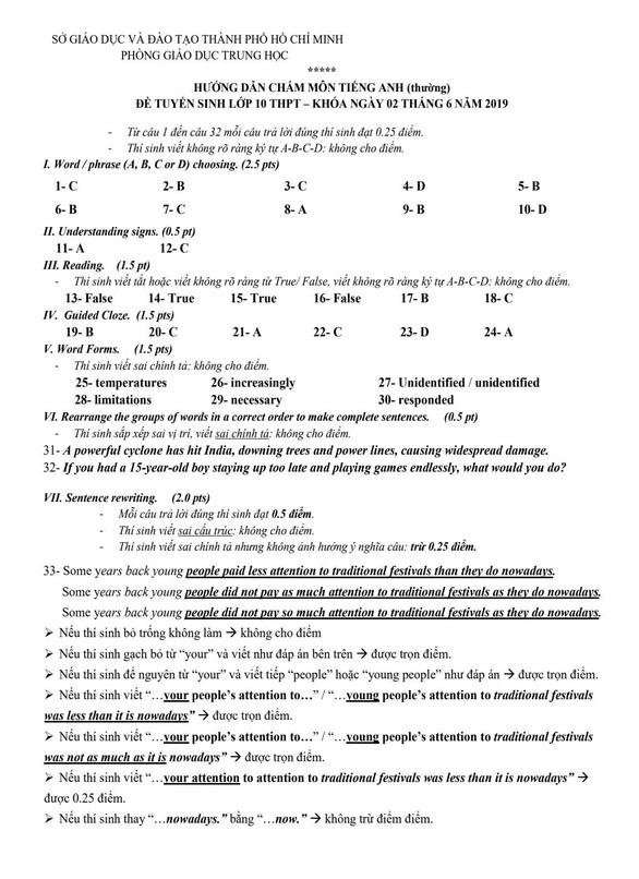 TP.HCM công bố đáp án các môn thi tuyển sinh lớp 10 - Ảnh 2.