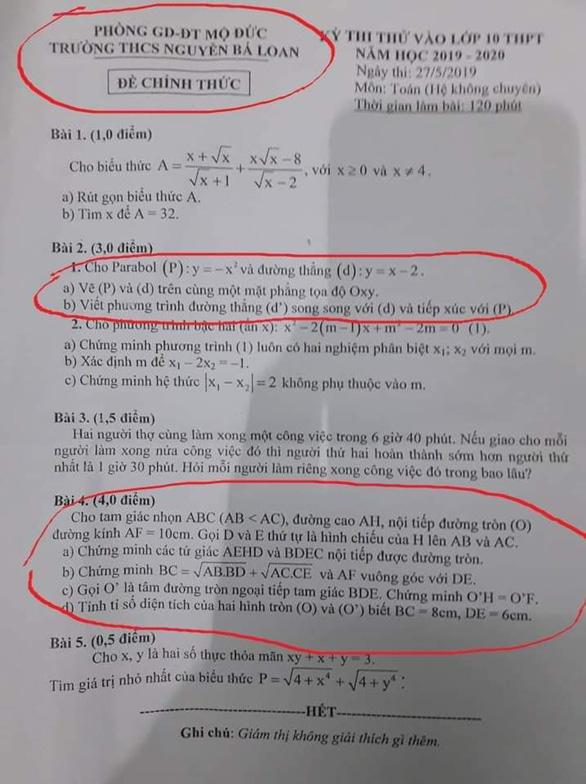 Đề toán lớp 10 ở Quảng Ngãi giống một đề thi thử - Ảnh 2.