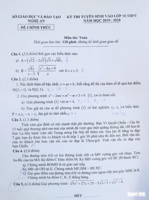 'Cậu bé Sơn La đạp xe về Hà Nội thăm em' vào đề thi lớp 10 Nghệ An - Ảnh 1.