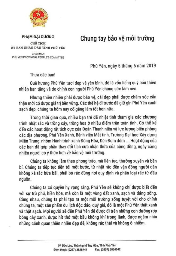 Chủ tịch tỉnh Phú Yên gửi thư chung tay bảo vệ môi trường cho người dân - Ảnh 1.
