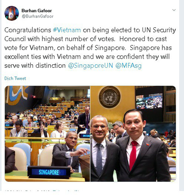 Đại sứ Singapore tại Liên Hiệp Quốc chúc mừng Việt Nam đắc cử Hội đồng Bảo an - Ảnh 2.